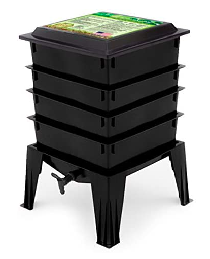 black stacking vermicompost container